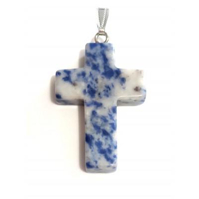 Подвеска крест из содалита