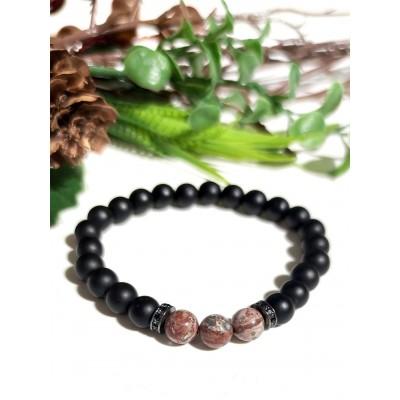 Браслет из леопардовой яшмы (риолита) и матового агата