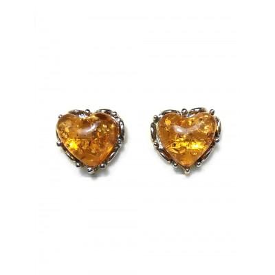 Серьги сердечки из бернита (имитация янтаря)