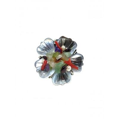 Кольцо с перламутром, жемчугом и самоцветами