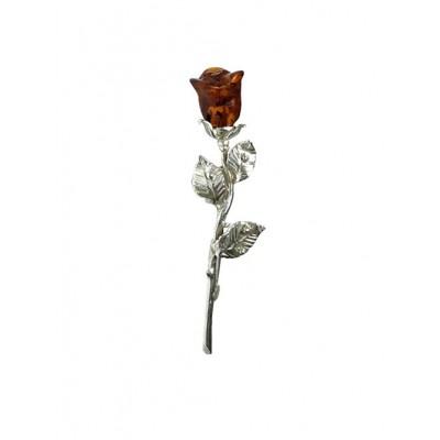 Брошь посеребренная роза из янтаря
