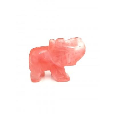 Слон из халцедона черри-кварца (имитация халцедона)