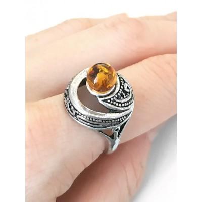 Кольцо посеребренное с бернитом (имитация янтаря)