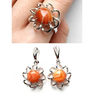 Комплект серьги+кольцо с сардониксом (сердоликом)
