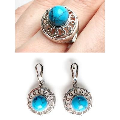 Комплект серьги+кольцо с говлитом (стилизация под бирюзу)