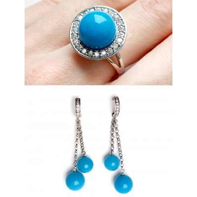 Комплект серьги+кольцо с синим агатом