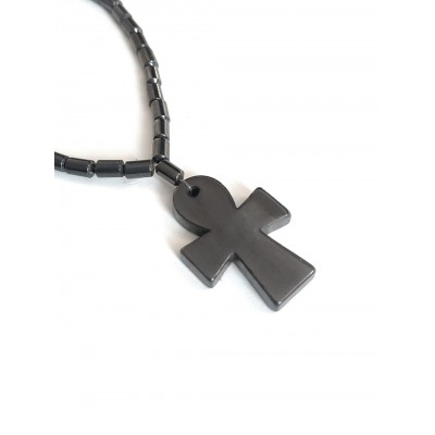 Бусы из гематита с египетским крестом Анкх