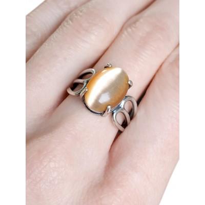 Кольцо посеребренное с жёлтым кошачьим глазом (синтетическим)