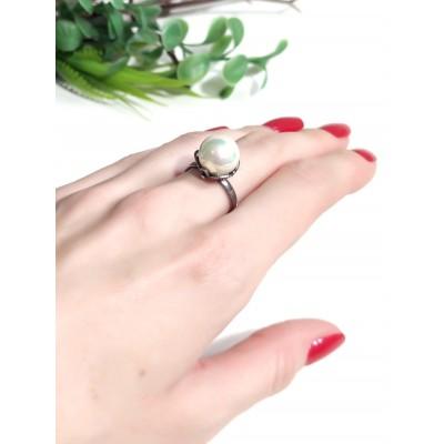 Кольцо посеребренное с белым жемчугом Майорка