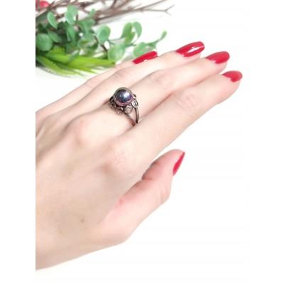 Кольцо посеребренное с жемчугом Майорка
