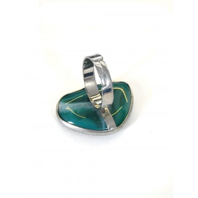 Кольцо с зеленым агатом