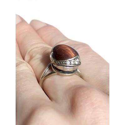 Кольцо посеребренное с бычьим глазом