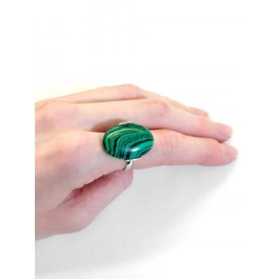 Кольцо с малахитом (синтетическим)