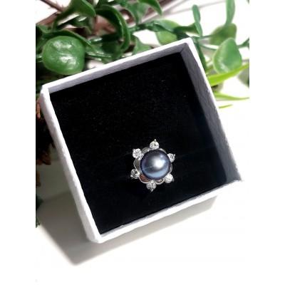 Кольцо с темно-синим жемчугом