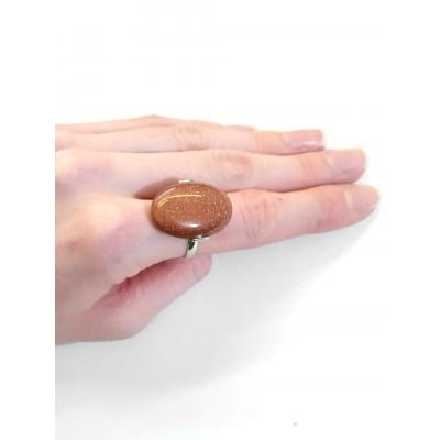 Кольцо с золотистым авантюрином (синтетическим)