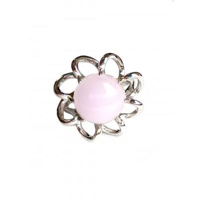 Комплект серьги+кольцо с розовым кварцем