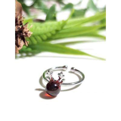 Комплект серьги, кольцо, подвеска с гранатом