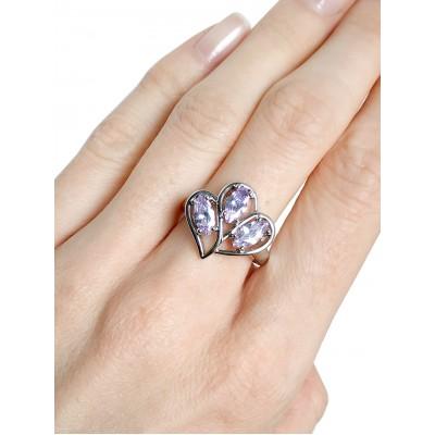 Комплект серьги+кольцо с фианитами