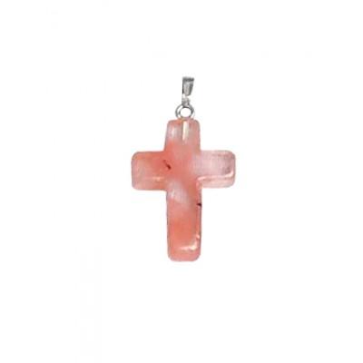 Подвеска крестик из черри-кварца (имитация халцедона)