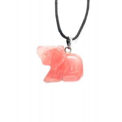 Подвеска слон из черри-кварца (имитация халцедона)