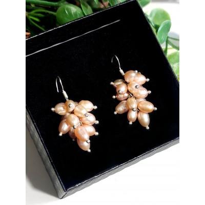 Серьги посеребренные с персиковым жемчугом