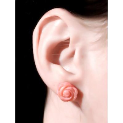 Серьги с розовыми кораллами (кожа ангела)