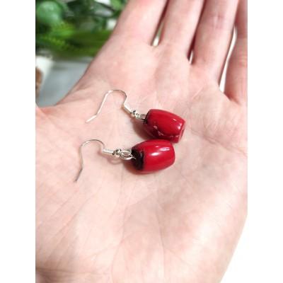 Серьги с красными кораллами