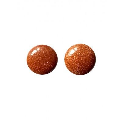 Серьги посеребренные с золотистым авантюрином (синтетическим)